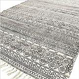 Eyes of India - Blanco y Negro Algodón Bloque Estampado Área Adorno Dhurrie Alfombra Tejido a Mano Tejido Plano - Blanco, 5 X 7 ft. (150 X 210 cm)