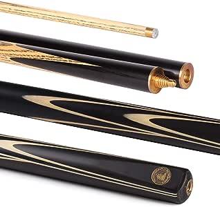 PowerGlide Spyder Medium 3/4 Unisex Professional Snooker Cue - Ebony Front Splice, 57 Inch