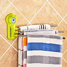 R Dabhi Stainless Steel 3-Arm Wall Mounted Bathroom Swivel Bars with Super Suction Cup (Multicolour)