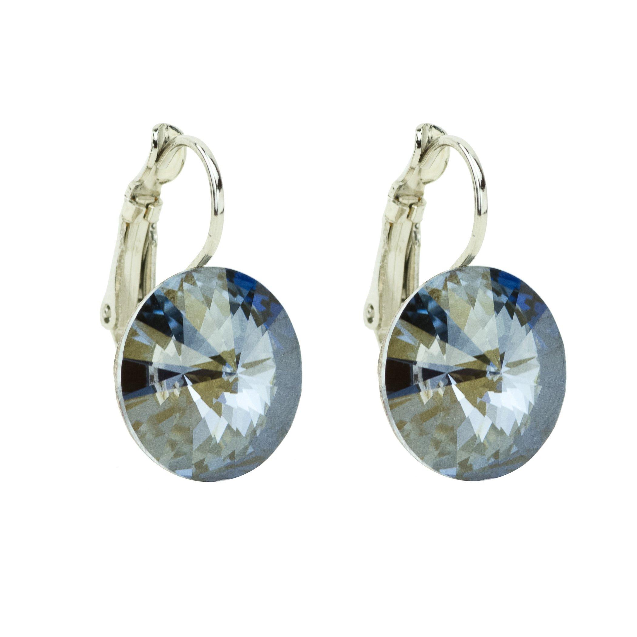 Eve S jewelry orecchini da donna con Swarovski Elements Crystal Blue Shade (14mm) placcati argento