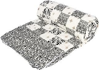 Stole & Yarn Black Flower Check Gold Double Bed Soft Indian Quilt Jaipuri Razai Blanket Cotton Rajai Light Weight Blanket Printed Dohar Comforter