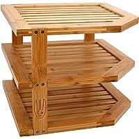 Wooglaste ® - Étagère d'angle - Organiseur de Cuisine - en Bois de Bambou - Grand Format - 3 Niveaux de Rangement…