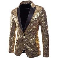 iHENGH Charm Men's Casual One Button Fit Suit Blazer Coat Jacket Sequin Party Top
