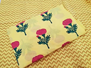 Worldoftextile Cotton Hand Block Print Fabric Suits for Top and Bottom (5m)