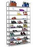 Halter 10Niveaux en Acier Inoxydable à Chaussures/étagères à Chaussures empilable–pour 50Paires de Chaussures–99,4x 28,3x 176,5cm–Noir