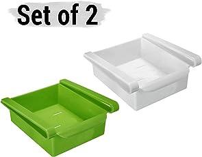 Tied Ribbons 2 Pcs Shelf Holder Drawer Slide Extra Storage Dish for Refrigerators Fridge Tray Set