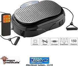 Newgen Medicals Vibrationsboard: 3in1-Vibrationsplatte bis 150 kg, 300 Watt, Expander, Fernbedienung (Rüttelplatten)