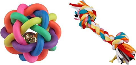 Foodie Puppies Dog Squeaky Rainbow Rubber Ball with Rope Chew Toy Combo (Colour may vary)