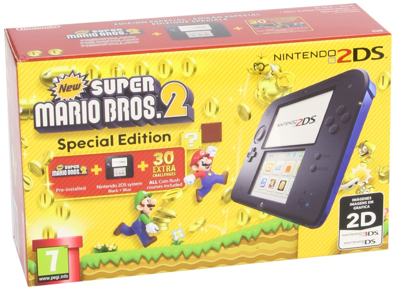 Nintendo 2DS - Consola, Color Azul + New Super Mario Bros 2 (Preinstalado)
