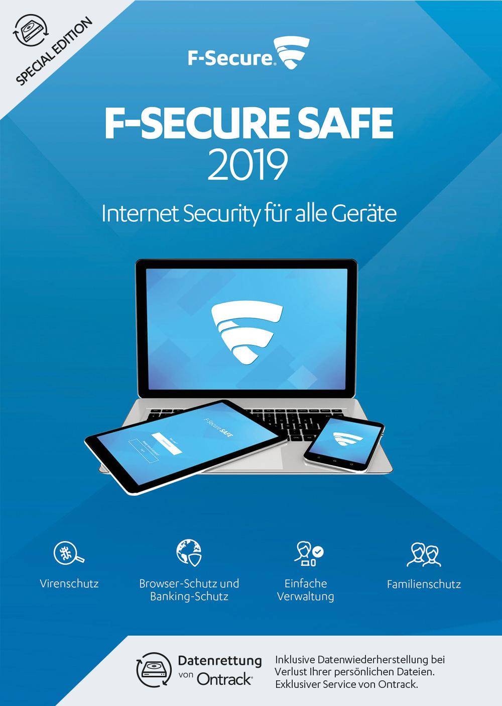 F-Secure SAFE Internet Security & Datenrettung 2019 - 1 Jahr / 3 Geräte für Multi Plattform (PC, Mac, Android und iOS) [Online Code]
