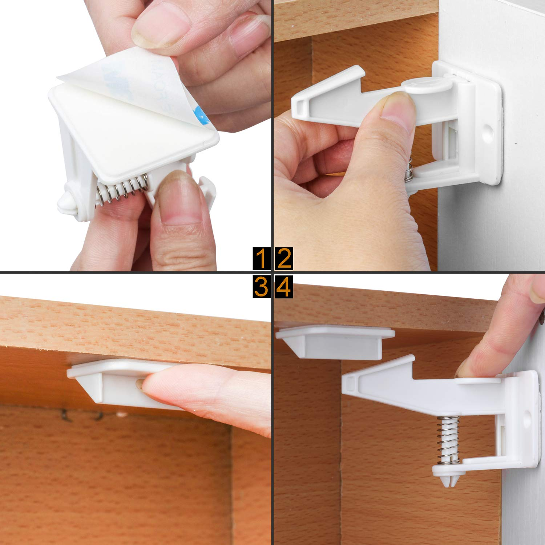 10 x Child Safety Catch Child Lock Cupboard Door Drawer Lock Catches Screws