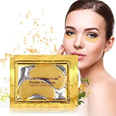 10/20/30/50/60/80/100 pairs wholesale New Crystal 24K Gold Powder Gel Collagen Eye Mask Masks Sheet Patch, Anti Ageing Aging, Remove Bags, Dark Circles & Puffiness, Skincare, Anti Wrinkle, Moisturising, Moisture, Hydrating, Uplifting, Whitening, Remove Blemishes & Blackheads Product. Firmer, Smoother, Tone, Regeneration Of Skin. Suitable For Home Use Hot or Cold. (20 pairs) by Hitece by Hitece