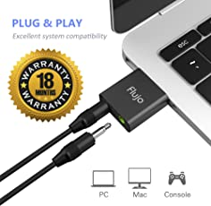 Flujo Aluminum USB External Sound Card Audio Adapter with 3.5mm Stereo Headphone/Speaker and Mono Microphone Jacks (Black, MA13)