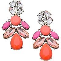 Happiness Boutique Orecchini Statement Arancione Rosa Chiaro | Chandelier con Gemme Multicolore senza nickel