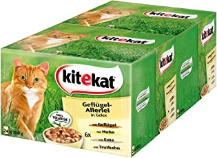 Kitekat Katzenfutter Nassfutter Adult für erwachsene Katzen Geflügel-Allerlei in Gelee, 48 Portionsbeutel (2 x 24 x 100g)
