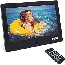 """Digital-Bilderrahmen, SSA 7 Zoll IPS-Schirm-Digital-Foto-Rahmen-1024x600 Pixel-hochauflösende Foto- / Musik- / HD-Video-Player- / Kalender- / Alarm-Auto-AN/AUS-Werbungs-Spieler mit Fernbedienung (7"""" Black)"""