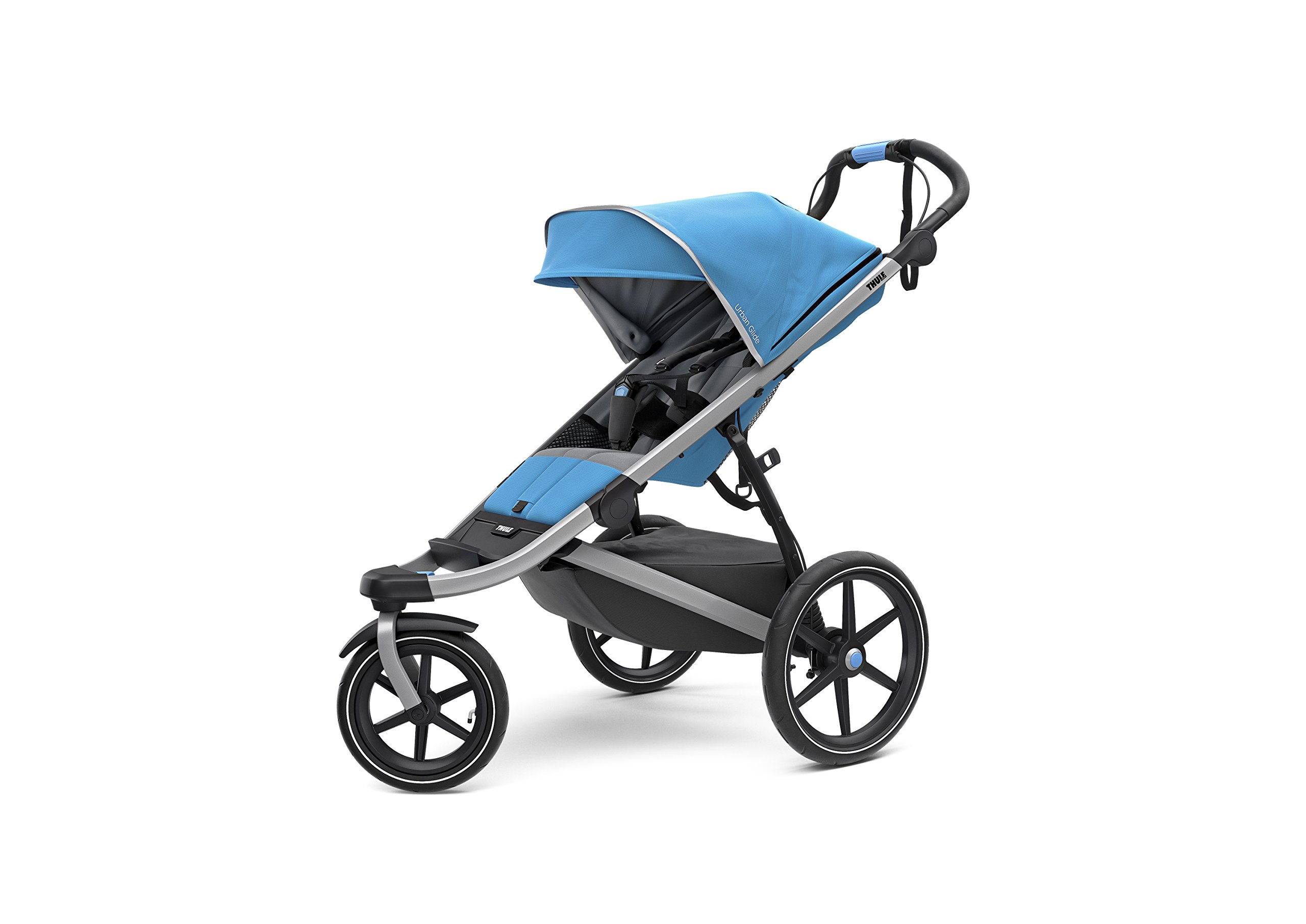 Thule Urban Glide 2.0 Jogging Stroller (Thule Blue w/Silver Frame) Thule One-handed, compact fold for easy storage and transportation Integrated twist hand brake provides speed control on hilly terrain Multi-position canopy with side-ventilation windows ensures your child is comfortable 1