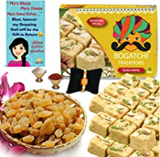 BOGATCHI Sweets and Dry Fruits, Soan Papdi, 250g and Natural Raisins, 100g with Rakhi Greeting Card, Rakhi, Roli Chawal for Brother (RKH18FSP0A7)