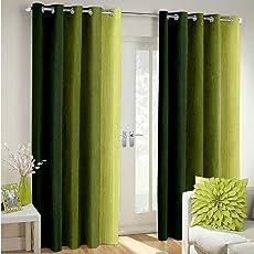 Super India Multi-Colour Fancy Polyester Eyelet Faux Silk- Premium Home Living Curtains Set of 2 Pcs
