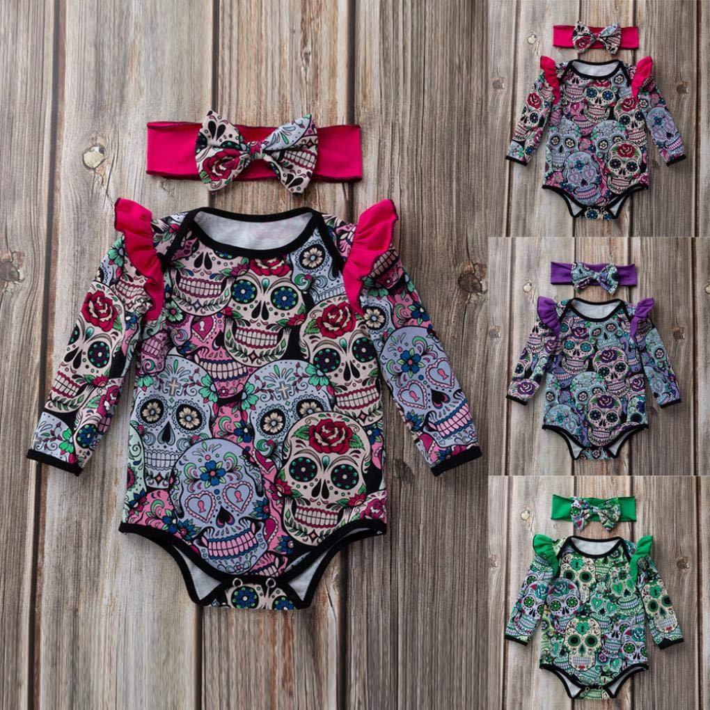 3ce02db4c Ropa Bebe,❤️ Modaworld Monos de Calavera de Dibujos Animados de Halloween  de Manga Larga para bebés recién Nacidos Mameluco Camisas Ropa bebés ...
