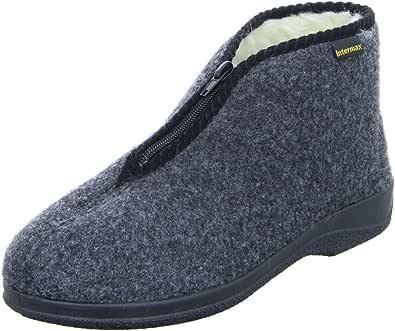 A forma di scarpa con chiusura lampo uomo Intermax casa., foderato in lana vergine, feltro grigio antracite