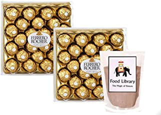 Combo of Ferrero Rocher Chocolates Gift Box, 24 Count (Set of 2) + Food Library Drinking Chocolate Powder, 100g