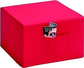 Badenia 03610114502 Bettcomfort Madrid Klappmatratze, Gästebetthocker, mit roter Husse, 6 teilig, dunkelblau