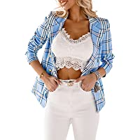 FeMereina Women´s Casual Long Sleeve Lapel Button Slim Work Office Blazer Jacket Check Plaid Double Breasted Blazer Suit