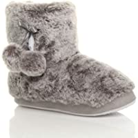 Ajvani Womens Ladies Winter pom pom Fur Lined Comfort Knitted Ankle Slipper Boots Booties Size.