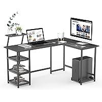 Bureau d'Angle avec Support d'écran, Table en Forme de L avec étagère de Rangement, Cadre métallique, pour Bureau à…