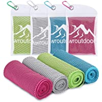 Awroutdoor Gym Ice Cooling Towels, 4 PCS Ice Sports Cool Cold Towel Quick Dry Bandana Neck Scarf for Yoga Golf Travel…