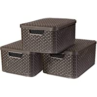 CURVER  Lot 3 bacs de rangement STYLE M + couvercles, Marron foncé, Plastique