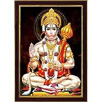 SAF Lord Hanuman Ji Sparkle Coated Framed Home Decorative Gift Item Painting (13.25 inch x 9.25 inch) SANFR3299