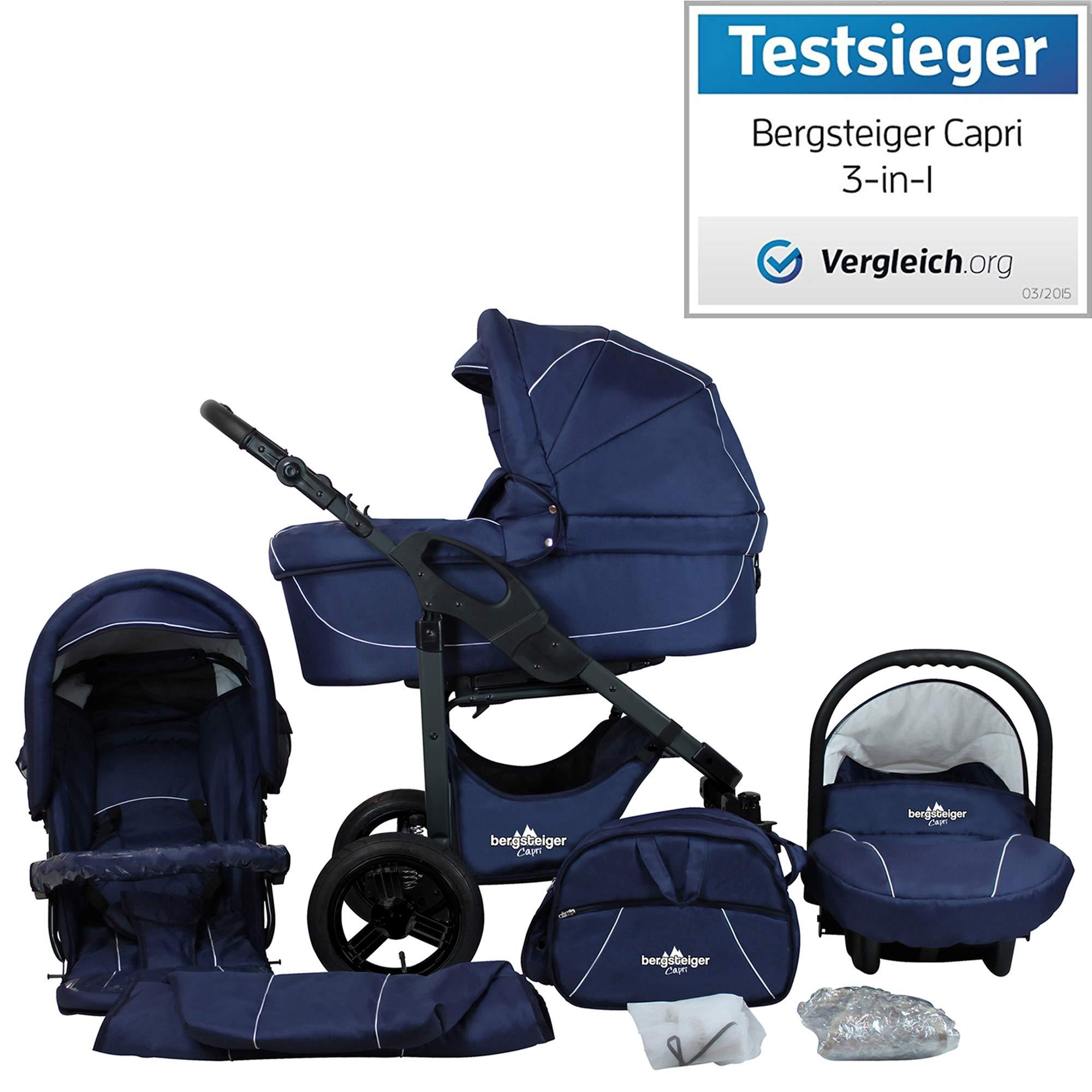 Bergsteiger Capri Marine Blau | Gestell: anthrazit Kinderwagen 3 in 1 Kombikinderwagen Megaset 10 teilig inkl. Babyschale, Babywanne, Sportwagen und Zubehör