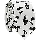 Cravate Note de Musique Blanche et Noire - Cravate Fantaisie Originale