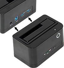 DAHSHA USB 3.0 Sata External Hard Drive Docking Station with SD/TF Card Reader Slot Including 2 USB 3.0 Hub S for 2.5 & 3.5 inch HDD SSD SATA