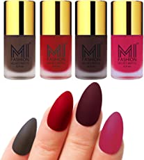 Mi Fashion Velvet Dull Matte Nail Polish, Coffee, Tomato Red, Wine, Pink, 39.6ml (4 Pieces)