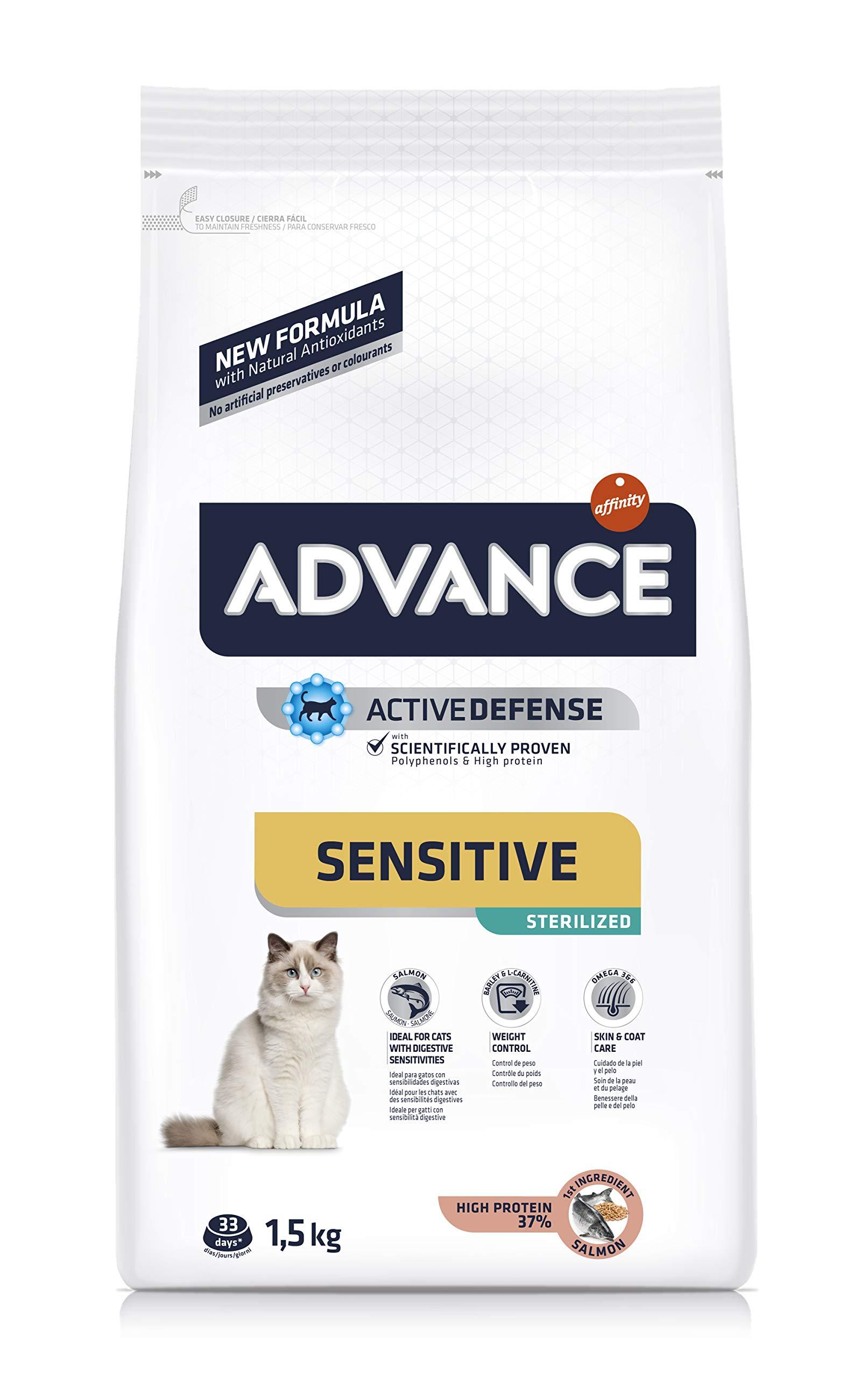 Advance Sensitivie Sterilized – Pienso para Gatos estirilizados con sensibilidades digestivas – 1.5 kg