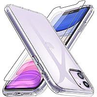 Losvick Coque iPhone 11, [2 Pièces Film de Verre trempé] Housse Silicone TPU Souple Gel [Liquid Clear] Protection Antichoc Bumper Cover Anti-Scratch Etui pour iPhone 11-6.1''- Transparent