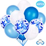 Mingco 40 Pieces Blue Balloon Set, Blue Confetti Balloons, DarkBlueBalloons, Sky Blue Balloons, 12 inch Latex Balloons, Wedding Birthday Party Decoration (White and Blue)