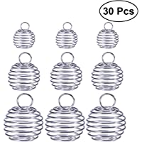 ULTNICE Bead Cage Pendant Spiral Beads Plated Cage Charms Findings for DIY Jewelry Making Pack of 30