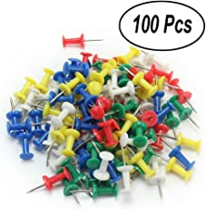 Push Pins, SNDIA Decorative Multi-Colored Push Pins / Thumb Pins in reusable Organizing Container for Home & Office, Different Projects (100)