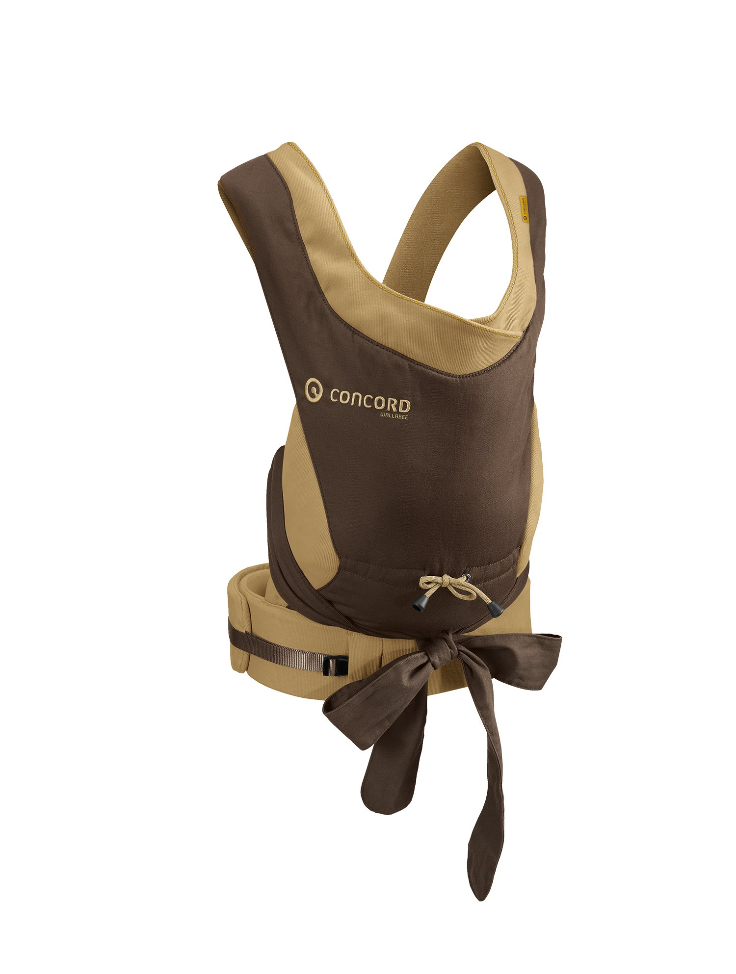 Concord Wallabee Baby Carrier (Walnut Brown) Concord Can be worn on the front or the back, quick and easy to put on Ergonomic design: corresponds to the spread-squat sitting positionrecommended by orthopaedic specialists Wide shoulder strap with cross-over belt guide to ensure optimum weightdistribution 1