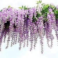 Houda - Ghirlanda pensile di glicine, rampicante, fiori di seta, per party, decorazione domestica, 12 pezzi, 1 m circa…
