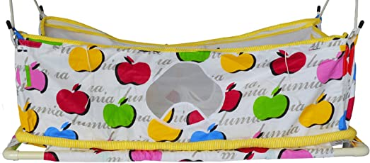 Multipro Flat Bed Soft Cloth Swing New Born Baby Cradle/Ghodiyu Hammock in Cool Cotton With Mosquito Net (Yellow)