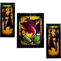 Indianara 3 PC Set of Lord Ganesha Paintings (1141) Without Glass 5.2 X 12.5, 9.5 X 12.5, 5.2 X 12.5 INCH