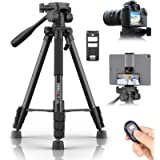 KINGJOY 60 inch Camera Tripod for Canon Nikon Lightweight Aluminum Travel DSLR Phone Tripod with 2 in 1 Phone Tablet…