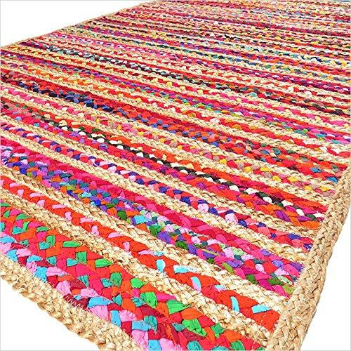 Eyes of India - 3 x 5 FT bunt gewebt Jute Chindi geflochten Bereich dekorativ Fleckerlteppich Indische Böhmisch (5' Jute)