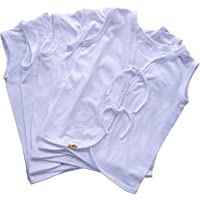 SkinCo Baby Jabla Softy/Tank Tops 5 Pcs (White), 0-3 Months, Sleeveless, Front Open and 100% Combed Cotton