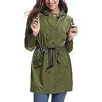 Raincoat for Women Waterproof Long Sleeve Zipper Rain Jacket Lightweight Breathable Raincoats Outdoor Active Windbreake…